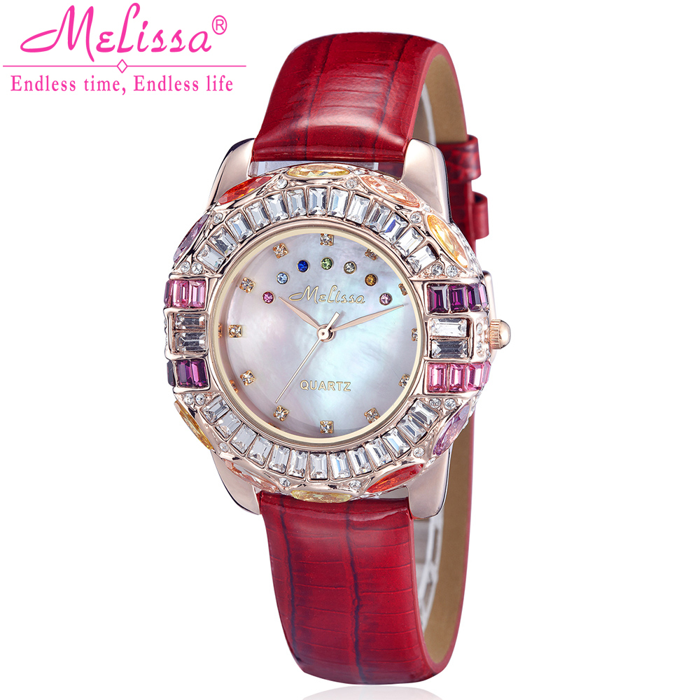 Luxury Shell Rhinestones Lady Women's Watch Quartz Hours Fashion Bracelet Leather Colorful Crystal Birthday Melissa Gift