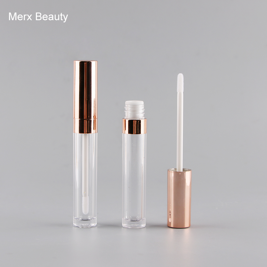 5/50pcs 6ml Clear AS Lip Gloss Bottle With Rose Gold Cap, Empty Round Lipgloss Tube, High Grade DIY Lipgloss Packing Container