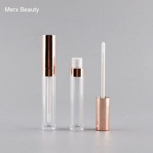 5/50 шт 6 мл Прозрачный как блеск для губ бутылка с розовым золотом крышка, пустая круглая губная трубка, высококачественный DIY Блеск для губ уп...