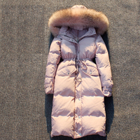 2018 winter fashion woman duck down coat long design over the knee large raccoon fur collar jackets pink blue black grey xxl 2xl