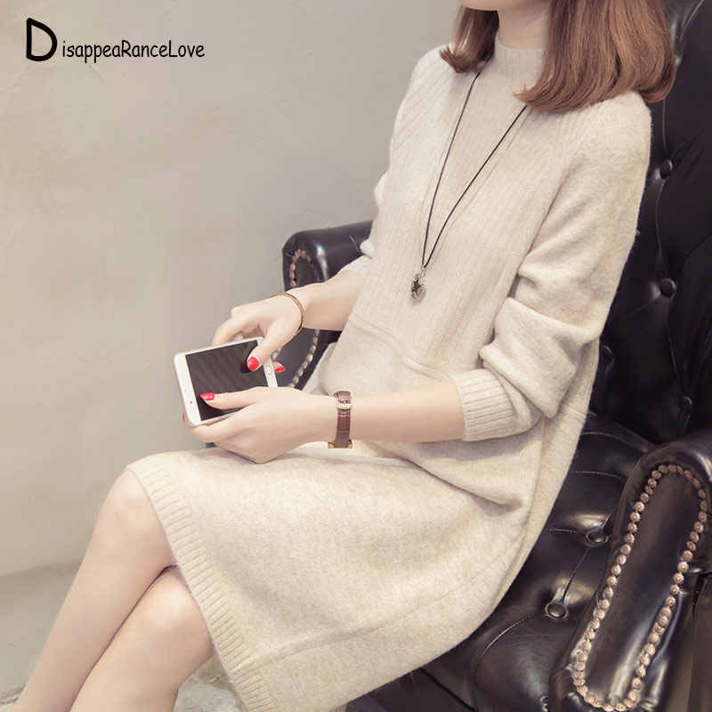 DRL Autumn Winter Women Long Sweater 2019 New Loose Half Turtleneck Long Sleeve Knit Pullover Sweater Female Casual Large Size