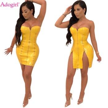 4c3367923 Adogirl amarillo sólido de cuero de la PU de vestido de las mujeres Sexy sin  tirantes cremallera lateral hendidura Mini Club vestido de fiesta elástico  ...