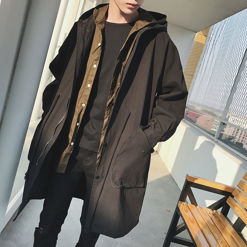 2018 Spring Newest Mens Korean Style Fashion Tide Bat Sleeve Even Hat Mid-Long Windbreaker Loose Casual Black Color Coats M-XL