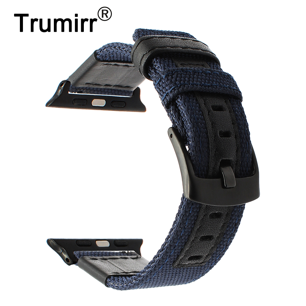 Woven Nylon & Genuine Leather Watchband for iWatch Apple Watch 38mm 42mm Series 3 2 1 Wrist Band Stainless Steel Buckle Strap