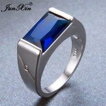 Очаровательное модное простое мужское женское кольцо с голубым камнем, 925 серебряное ювелирное изделие, винтажные обручальные кольца для мужчин и женщин