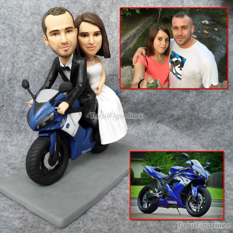 custom personalized wedding cake topper figurines with motobike moto car wedding gifts for motorcyclist present gift customize