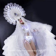 Led Sexy Lady Light Up Ice Queen Party Dress Clothing Led Luminous Christmas Performance DJ Singer