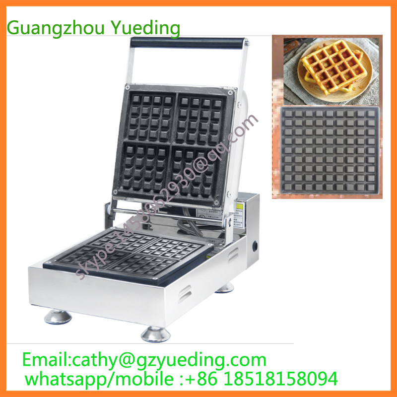 Commercial Use Non-stick 110v 220v Electric 4pcs Belgium Belgian Liege Waffle Iron 110v 220v electric belgian liege waffle maker baker iron machine