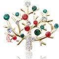 2015 New Arrival Coréia Moda Mulheres Broche de Cristal Misturado Cor Ramo de Árvore Árvores de Natal Por Atacado