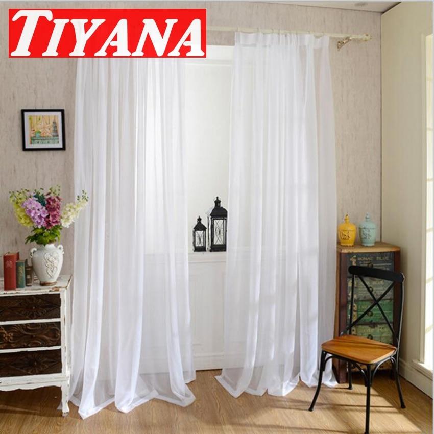 Modern style solid fresh white voile window screening