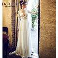 2017 Lace Long Sleeve Backless Sexy Women Wedding Dresses Beach Bridal Dresses Chiffon Sweep Train Skirts vestido de noiva