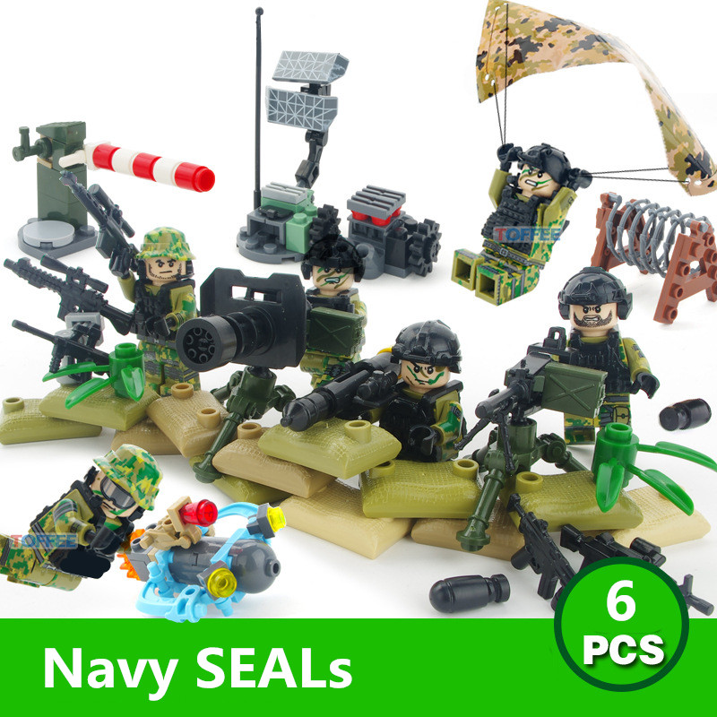 6pcs Navy Seals Team MILITARY US Army UDT WW2 Special Force SWAT Soldier Building Blocks Bricks Figures Gifts Toys Boys Children military city police swat team army soldiers with weapons ww2 building blocks toys for children gift