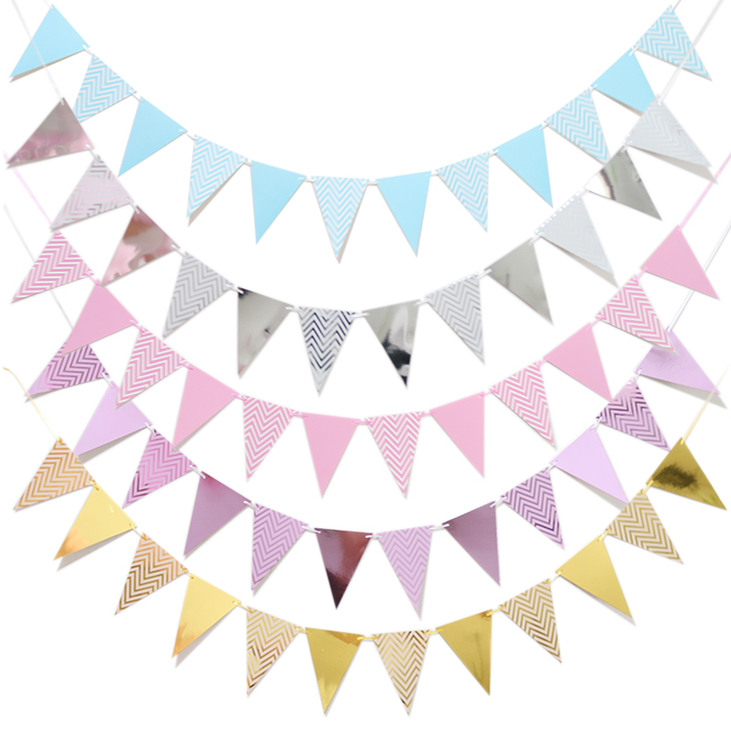 Glitter Paper Birthday Party Hanging Bunting Banner Flag: Aliexpress.com : Buy 1set 2m Silver Rose Gold Flag Banner