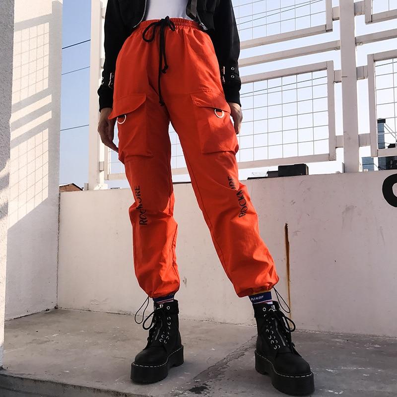 Streetwear Letter Prints High Waist Cargo Pants Women Strappy Sashes Long Pants Spring Autumn Casual Drawstring Harem Pants Hip