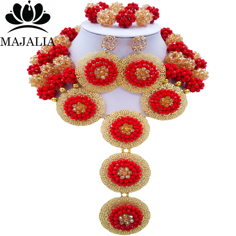 Majalia Fashion Nigeria Wedding African Beads Jewelry Set Opaque red and gold ab Crystal Necklace Bridal Jewelry Sets 3SP004Majalia Fashion Nigeria Wedding African Beads Jewelry Set Opaque red and gold ab Crystal Necklace Bridal Jewelry Sets 3SP004