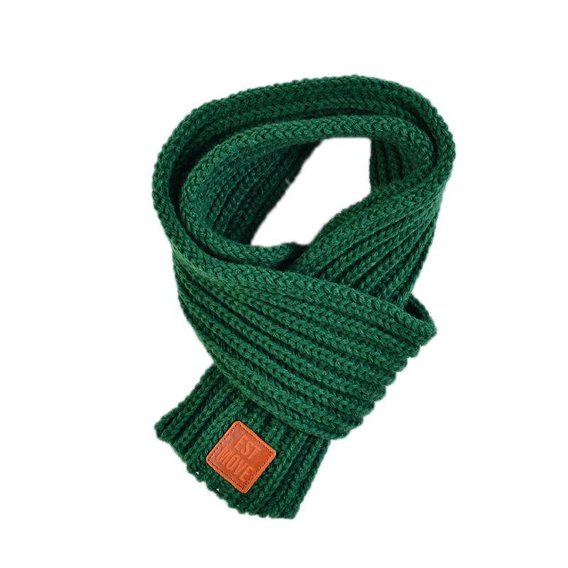 Детский вязаный шарф из акрилового волокна для мальчиков и девочек, плотная зимняя теплая шаль для шеи, шарфы с резиновыми буквами - Цвет: Зеленый