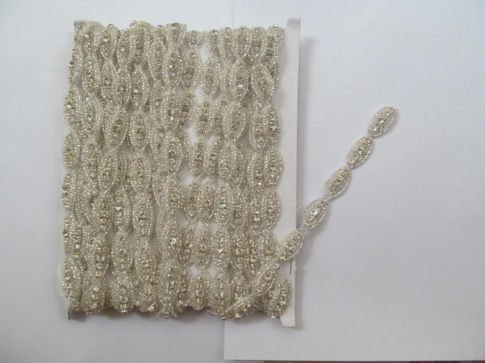 miglior sito web 8eb95 5439c US $63.55 5% di SCONTO|2014 new Handmade hot fix strass cintura di lusso  strass patch per abito da sposa cucito sulla strass in cristallo trimm ...