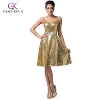 人気のブルーゴールドショートウエディングドレスgrace karinスパゲッティストラップ2017 vネックスパンコールイブニングガウン帰郷dress 6149