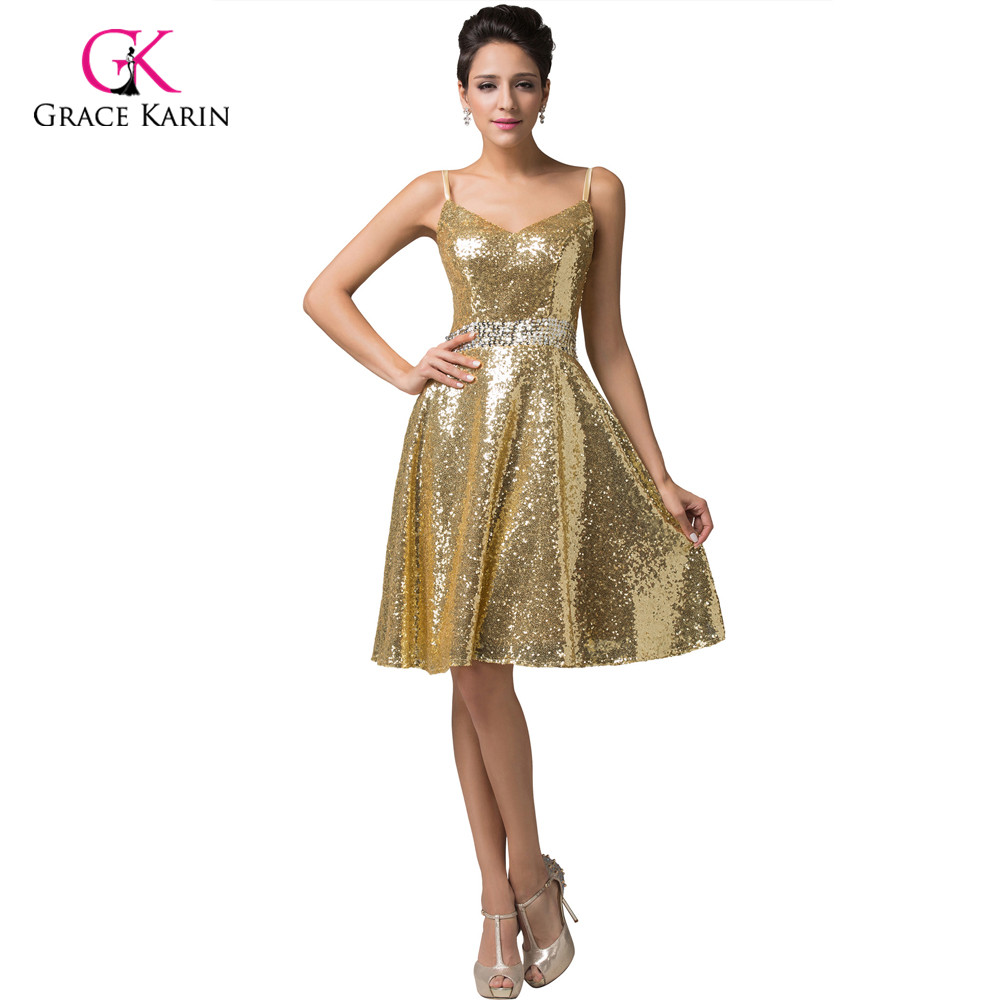 Popular Blue Gold Short Prom Dresses Grace Karin Spaghetti ...