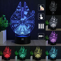 Star Wars Millennium Falcon 3d Led Night Light Acrylic Colorful Gradient Atmosphere Lamp Lighting Usb Led free remote control fr