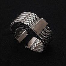 Correas de reloj de alta calidad, de acero inoxidable, negras y plateadas, de malla, de 18mm, 20mm, 21mm y 22mm