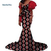 Vintage Vestidos Bazin Long Mermaid Dress Draped Patchwork African Print Dresses for Women African Ankara Clothing WY3346