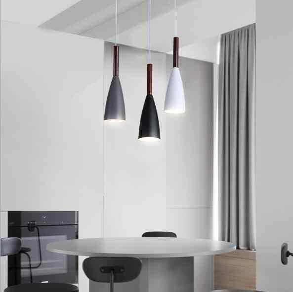 Lukloy Modern Pendant Light Dapur Lampu Gantung Ruang Makan Dapur Perlengkapan Pencahayaan Loft Dekorasi Kayu Lampu Lampu Kilau