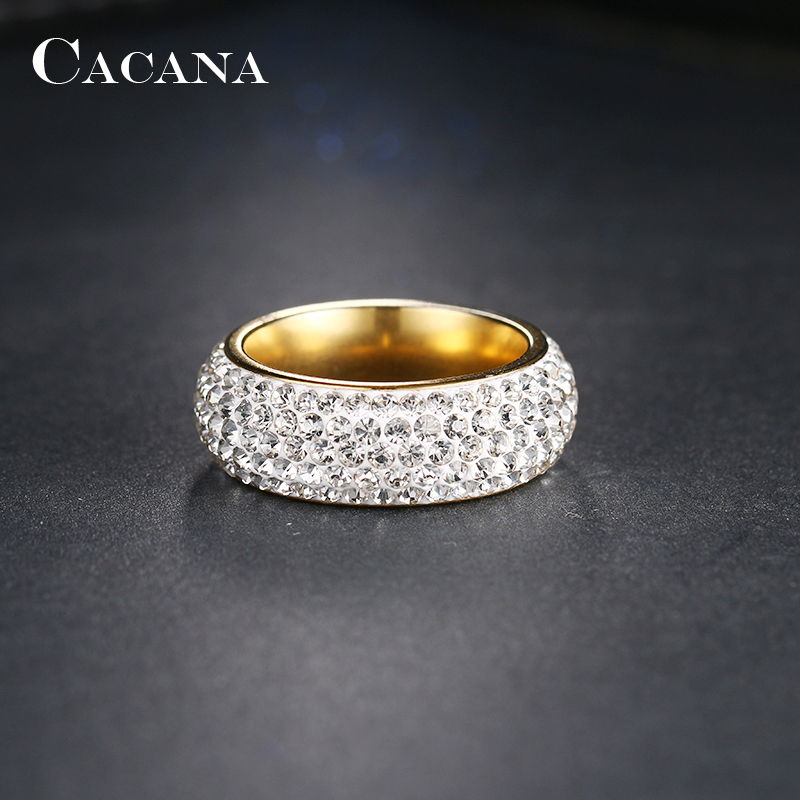 CACANA Stainless Steel Rings For Women Cubic Zirconia Wedding Ring Fashion Jewelry Wholesale NO.R192 193 4