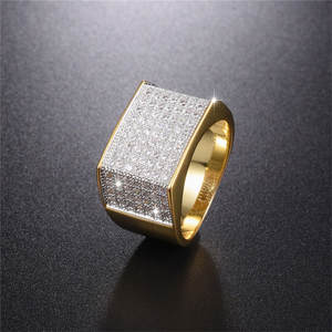 choucong Men's jewelry 925 Silver SONA gold rings for