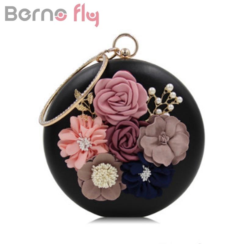 Bernofly Female Embroidery Mini Circle Clutch Evening Bag Women Fashion Trendy Floral Silk Round Black Small