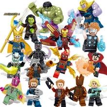 16pcs Avengers Infinity War Figuur Set Legoingly Super Hero Iron Thor Thanos Peter Hulk Black Panther Bouwstenen Model speelgoed