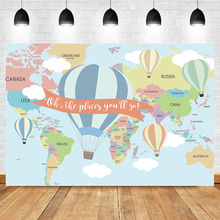 Neoback Photo Background Travel Hot Air Balloon Backdrop Adventure World Map child baby Birthday Party Photography