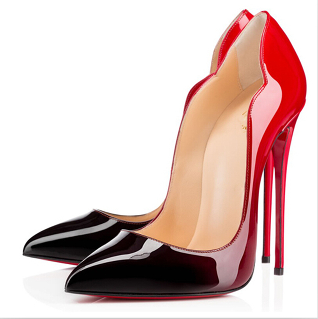 d1d328c6f4fa 2015 Gradient Patent Leather Women Pumps Impera So Kate Red Bottom High Heels  Women Shoes Sexy Party Wedding Shoes Plus Size