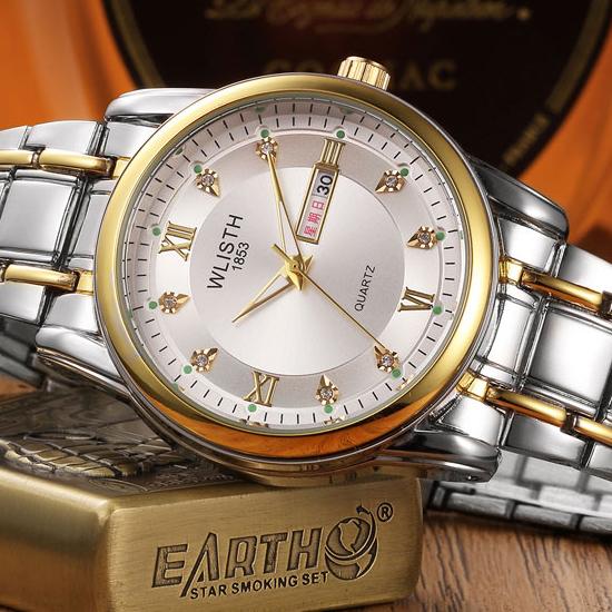 Prix pour WLISTH D'or Date Montre Hommes 2017 Top Marque De Luxe Célèbre Bracelet À Quartz Montres Hommes Horloge Mâle Quartz-Montre Nouveau Relogio Masculino