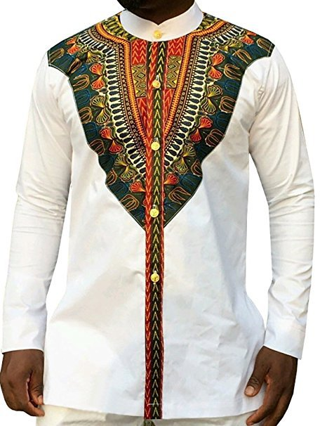 2017 Traditional Dress Mens Shirt African Style Front Row Buckle T