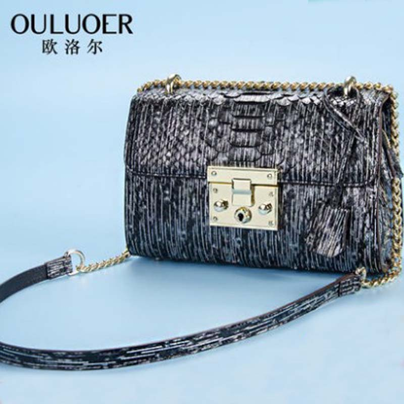 ouluoer new women handbag Single shoulder bag female bag tide snake skin
