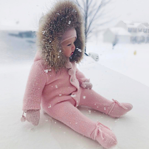 Image 2 - Combinaison de luxe avec col en fourrure de raton laveur, tricotée à capuche, vêtements à capuche pour bébés filles et garçons, barboteuses pour bébés, Vintage
