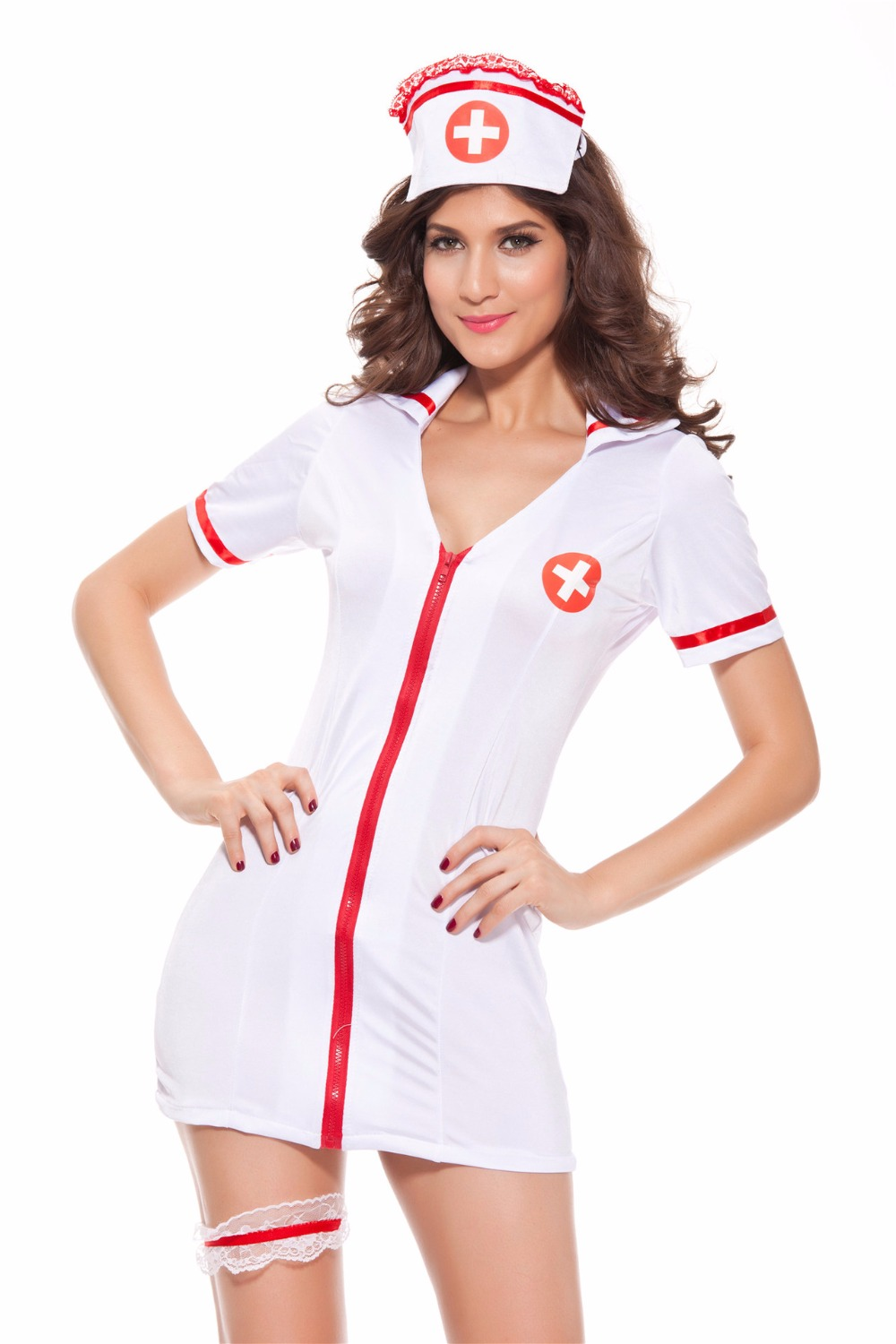 White pinafore apron nurse - Sexy Bridal White Prep Nurse Doctor Role Play Front Open Mini Dress With Hat And Thong