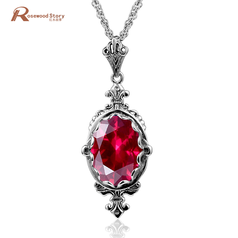 Women 925 Sterling Silver Gems Sapphire Ruby Crystal Apple Pendant For Necklace