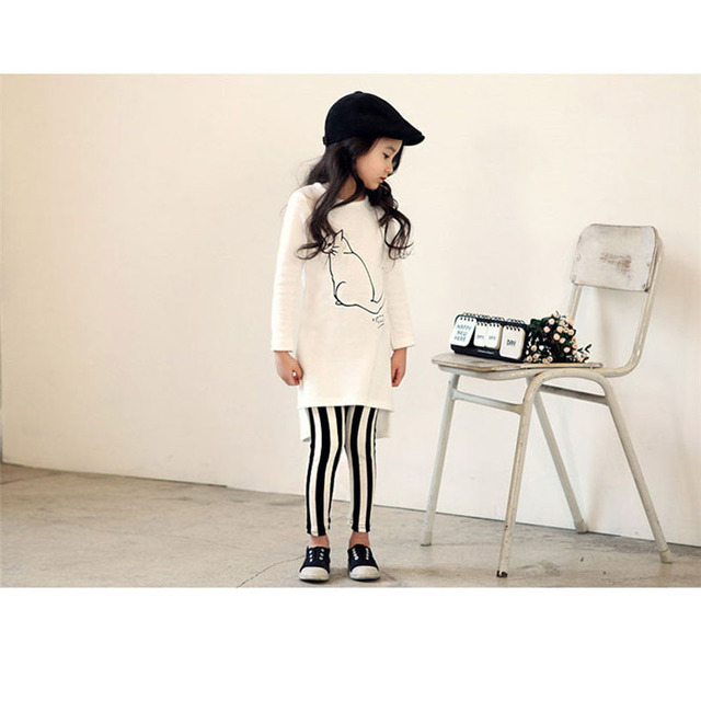 Spring Toddler Girl Clothing Cool Girls Clothing Set Stripes Children Kids Clothing T Shirt+Pants Fashion Girl Sport Suit