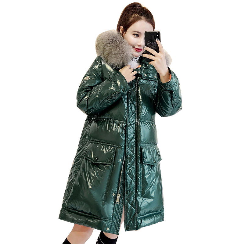 Women Winter Jackets Shiny Female Coats Faux Fur Collar Parka Women's Streetwear Padded Oversized Hooded Jacket 2019 Long Coat