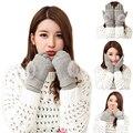 Destacável Dupla Camada Luvas de Inverno 2016 Das Mulheres Quentes Pompons Pele Bola Touchscreen Luva Sem Dedos Luvas de Malha Luvas de Lã