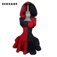 ECOBROS 2017 New Woman Halloween Short Dress With Hat Fashion Sleeveless Patchwork Dresses Plus Size Woman
