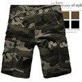 2016 Nuevos Hombres Cortos de Camuflaje Sueltos multibolsillos guardapolvos Rectos Ocasionales XL Nueva Moda pantalones cortos de playa