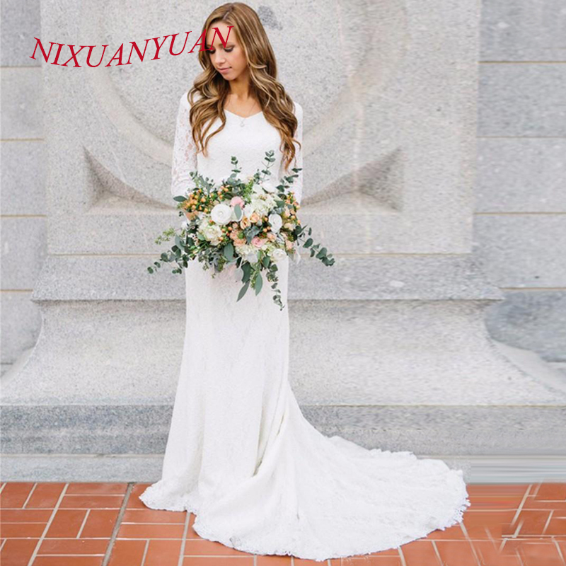 NIXUANYUAN Vintage Modest Wedding Dress Mermaid With Sleeves Lace Bridal Gowns 2019 V Neck Boho Wedding Dress Vestido Fiesta