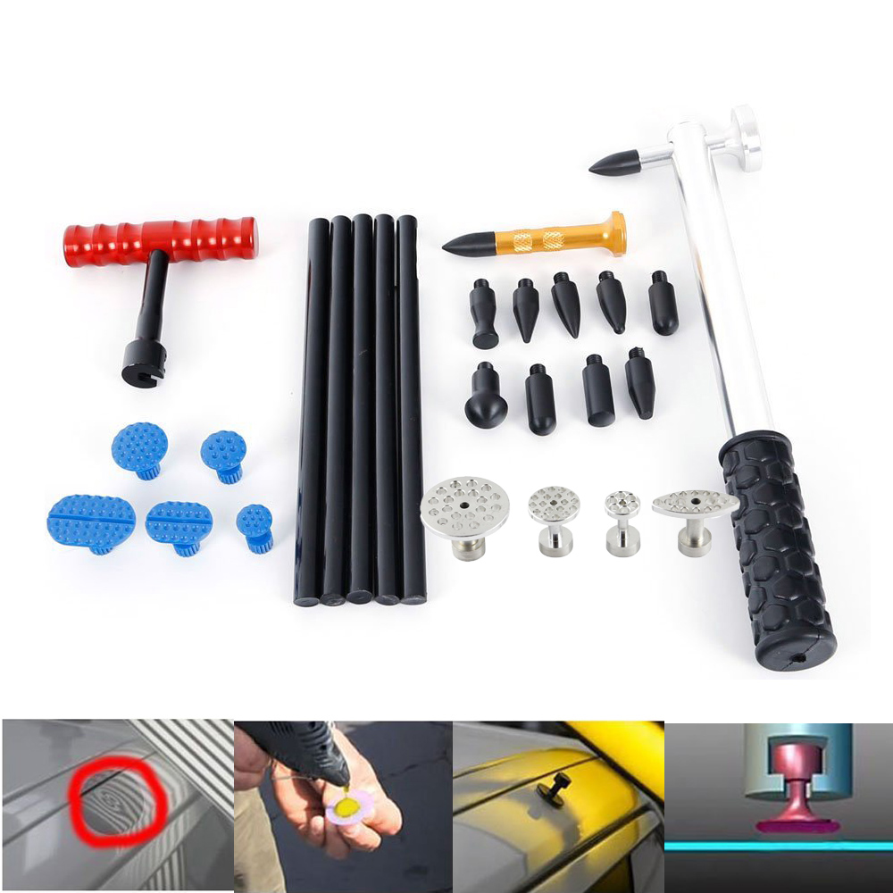WHDZ PDR Hail Auto Body Hammer with 9pcs Pulling Glue Tabs Paintless Repair Tools Set Tap Down 10 Heads Pen Dent Hammer