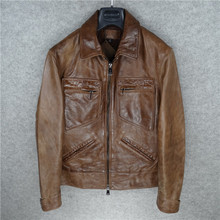 Free shipping Brand vintage cowhide leather jacket man s 100 genuine leather Jackets men thick motor