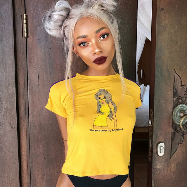 051f25b02f 2018 Vouge Summer Sexy Women Tops Cartoon Letter T Shirts Harajuku T-Shirt  Female Crop Top Tshirt Tees Cropp