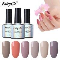 FairyGlo 10ml Nude Color Gel Varnish Soak Off Gel Nail Polish UV LED GelLak Lacquer Semi Permanent Gelpolish Hybrid Gel ink