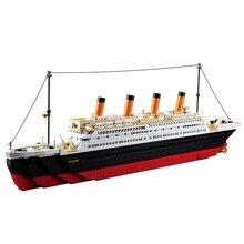 Sluban kits de edificio modelo compatible con lego city rms titanic nave 1021 unids bloques 3d modelo de construcción de juguetes educativos